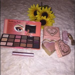 4 pc Too Faced Sweet Peach Palette Blush Lipstick